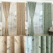Oriental Bird / Floral Shabby Chic Eyelet Blackout Lined Curtains