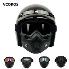 Modular Mask Detachable Goggles Helmets Perfect Open Face Motorcycle Vintage New