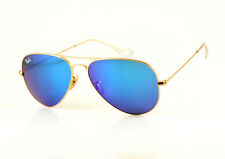 Ray-Ban RB3025 112/17Matte Gold BLUE Mirror Lenses Aviator Pick Your Size