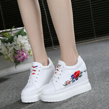 Womens Athletic Sneakers Platform Casual Shoes Embroidery Flower Wedge Heel