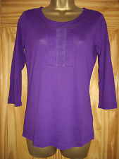 New M&S per una - 8 10 12 18 - LADIES Purple TOP - pintuck/ lace detail @ FRONT