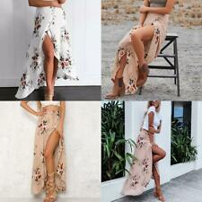 Women Chiffon Boho Beach Wrap Maxi Split Skirt Summer Flower Print Long Dress