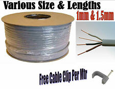 3 CORE & EARTH CABLE GREY 1mm 1.5mm ELECTRICS 2 WAY LIGHTING 3Ft - 100Ft