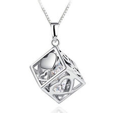 FASHIONS FOREVER® 925 Sterling Silver Love-Heart-Cube CZ Zircon Necklace-Pendant