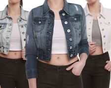 New Womens Distressed Look Short Cropped Cotton Denim Long Sleeve Jacket