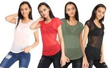 New Womens See Through Cap Sleeve Sheer Mesh Round Piped Neck Crop Top T-Dress