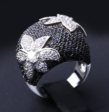 Elegant Big Flower Silver Gold and Black CZ Lady Woman Fashion Coctail Rings
