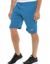 New Mens Nike Fleece 3D Knee Jersey Shorts, Jogging Long Sport Gym Royal Blue