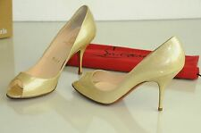 New Christian Louboutin Peep Toe Pumps Patent Beige Nude Glitter Shoes 37.5
