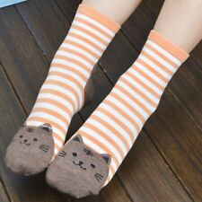 Cat Lady Cat Socks with kitty heel pink green blue red mocha stripes girls women