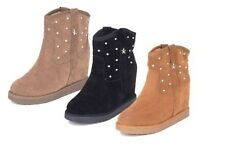 Ladies Faux suede concealed wedge studded ankle boots