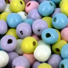 12mm Wooden Pastel Mixed Beads Jewellery Craft bead Packs of 100/500/1000 W59