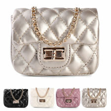 Metallic Mini Love Quilted Cross body Bag Shoulder Purse With Gold Chain Strap