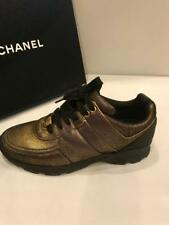 CHANEL 16K Golden Brown Bronze Leather Tennis Sneakers Kicks Trainers Shoes $950
