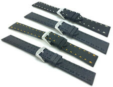 18mm to 22mm, Leather Watch Band Strap, Comes in Black with Colored Stitching