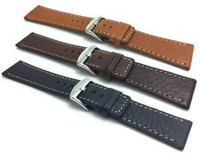 22mm to 30mm, Genuine Leather Watch Band Strap, 3 Colors, White Stitching