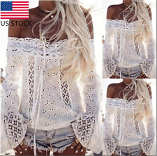 Womens White Off Shoulder Lace Flare Sleeve Boho Casual Summer Shirt Blouse Tops