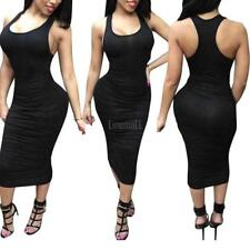 Women Sexy O Neck Sleeveless Solid Stretchy Ruched Bodycon Midi Tank Dress LM