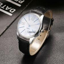 New Men Fashion Synthetic Leather Band Metal Analog Quartz Wrist Watch LM