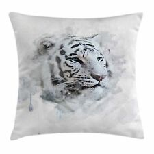 Animal Throw Pillow Case White Tiger Portrait Square Cushion Cover 20 Inches