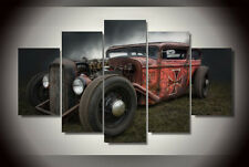 Vintage Abandoned Cars Painting Framed Abstract Print Canvas Wall Art Home Decor