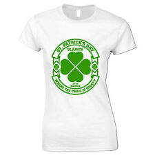 4 Leaf Clover St Patricks Day Where The Craic Is Mighty Shamrock Womens T Shirt
