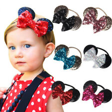 Minnie Mouse Ears Headband Shiny Sequin Baby Kid Girls Hair Bow Band Accessories
