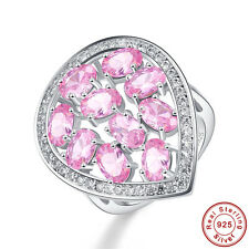 Women Wedding Gifts Oval Cut Pink Topaz S925 Sterling Silver Ring Size 6 7 8 9