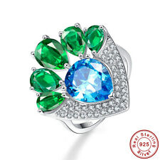Women Pear Cut Swiss Blue Topaz & Emerald S925 Sterling Silver Ring Size 6 7 8 9
