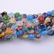 Wholesale Lots Multi-Color Heart Millefiori Glass Craft Charms Spacer Beads