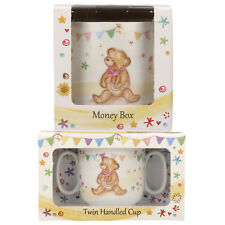 KIDS BOYS GIRLS INFANT TWIN HANDLE CUP & CERAMIC MONEY BOX GIFT BEAR DESIGN