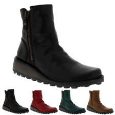 Womens Fly London Mong Rug Winter Low Wedge Casual Leather Ankle Boot US 5-11