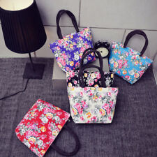 Women Flowers Printing Canvas Girls Shopping Shoulder Handbag Tote Shopper Bag