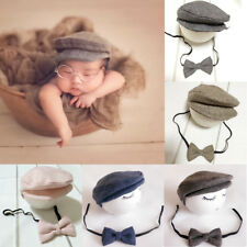 Baby Newborn Boys Girls Peaked Beanie Cap Hat + Bow Tie Photo Photography Prop