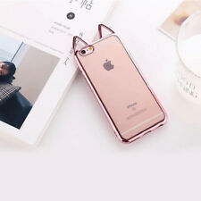 HOT Electroplate Cute Cat Ears Soft Back Cover TPU Cover Case For Iphone
