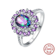 Dazzling Amethyst Rainbow & White Topaz S925 Sterling Silver Ring Size 6 7 8 9