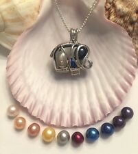 ELEPHANT STERLING SILVER CAGE PENDANT & NECKLACE  AKOYA PEARL OYSTER FAST SHIP
