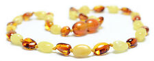 Genuine Baltic Amber Teething Necklace - Cognc/White Oval Beads