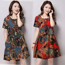 Womens Vintage Dress Cotton Linen Casual Loose Chinese Style Dress Plus Size