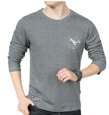 M-XXXL Mens Basci Tee 100% Cotton Long Sleeve Fitted Round Neck Casual T shirt