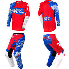 ONeal Element Burnout Red/Blue motocross MX dirtbike gear - Jersey Pants Combo