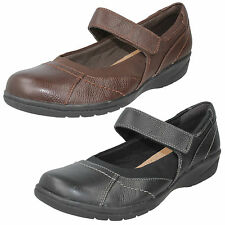 LADIES CLARKS LEATHER RIPTAPE WIDE CASUAL MARY JANE LOW WEDGE SHOES CHEYN WEB