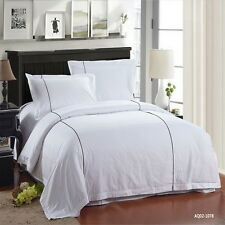 Cotton White Duvet Quilt Doona Cover Set King/Queen Size Bed Cover Set Linen New