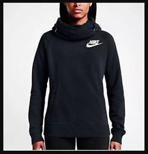 NWT WOMEN'S NIKE FUNNEL HOODIE PULLOVER BLACK ALL SIZES - SUPER SOFT AUTHENTIC