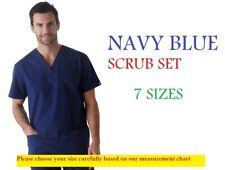 Navy Blue MEN Nurse Scrub Set Uniform Cotton-Poly Half Sleeve 4 Pocket 7 size