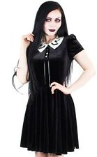 Hell Bunny Gothic Goth Halloween Full Moon Mini Dress Black Velvet Bat Collar