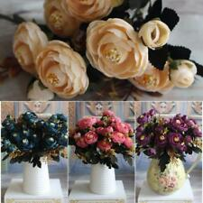 Artificial Silk Fake Flowers Peony Leaf Floral Bouquet Home Wedding Party Decor