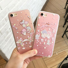 Lovely Pink Twin Stars Transparent Matte Case Cover For iPhone 7 7 Plus 6 6S 5S