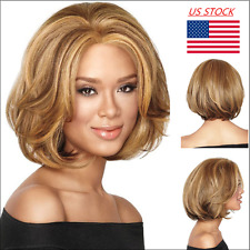 Women Lady Golden Brown Short Curly Wave Medium Hair Wig Cosplay Party Full Wig