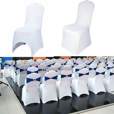 2-100 White Chair Covers Spandex Lycra Wedding Banquet Anniversary Party Decor